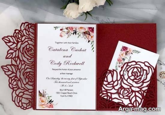 ایده های زیبا و جذاب از کارت عروسی زرشکی