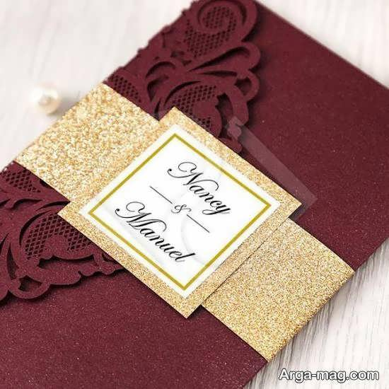 کارت جشن ازدواج ب رنگهای قرمز و زرشکی