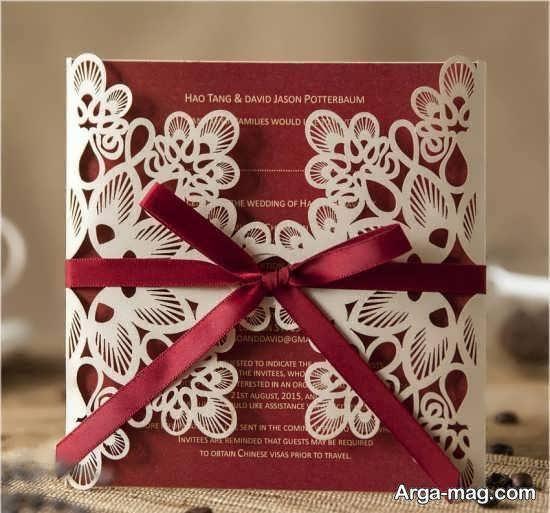 ایده های زیبا و لوکسی از کارت عروسی زرشکی