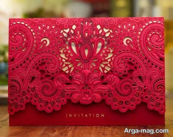 ایده های زیبای کارت عروسی زرشکی