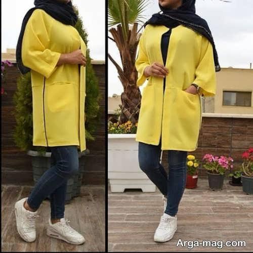 مانتوی کوتاه زرد 1400