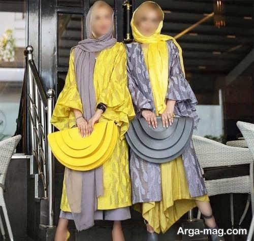 مانتو زرد و طوسی برای عید 1400