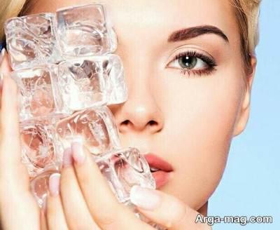 استفاده از یخ برای جذب مواد زیبایی روی پوست