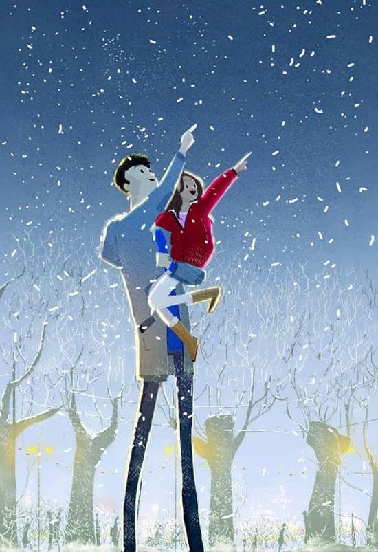 عکس پروفایل پدر و دختر با طرح کارتونی
