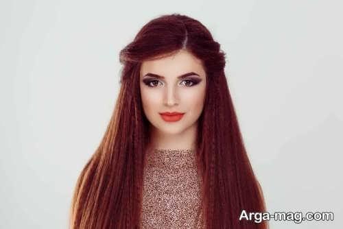 آرایش دخترانه با موی شرابی