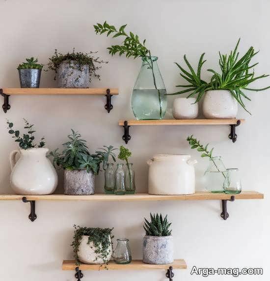 ایده های زیبای قفسه دیواری برای گلدان
