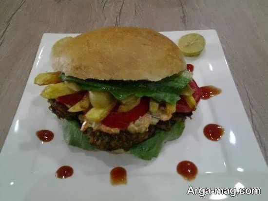تزیین انواع همبرگر و ساندویچ همبرگر