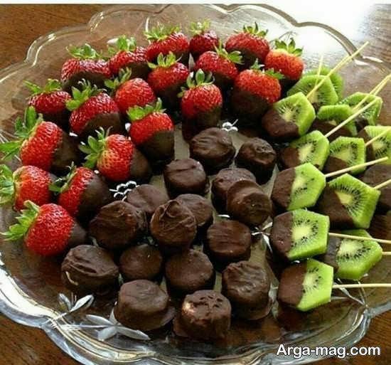 ایده های شیک و اشتهابرانگیز تزیین میوه با شکلات