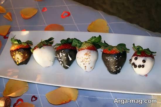 انواع ایده های تزیین میوه با شکلات