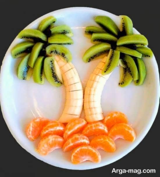 تزیین میوه برای کودکان با پرتقال موز و کیوی