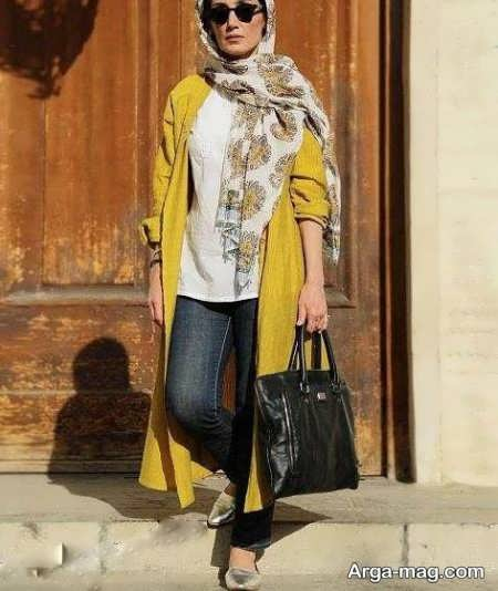 مانتوی زرد هدیه تهرانی