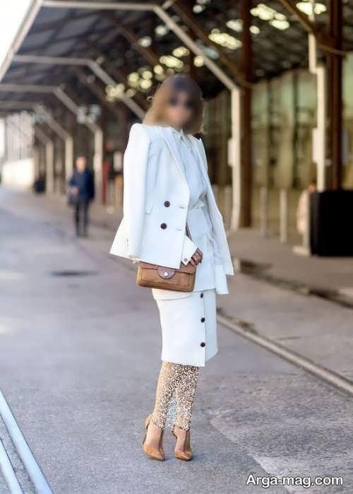 مدل کت و دامن یک رنگ و سفید
