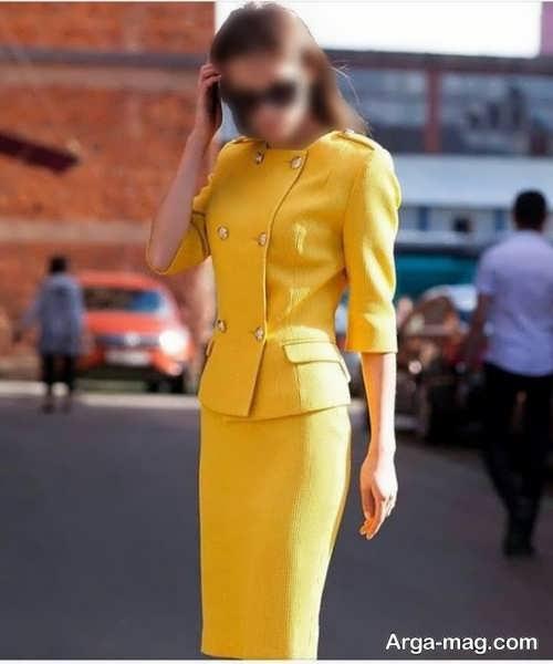 کت و دامن مجلسی زرد