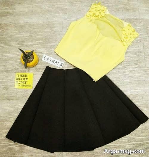 ست لباس زرد و مشکی دخترانه