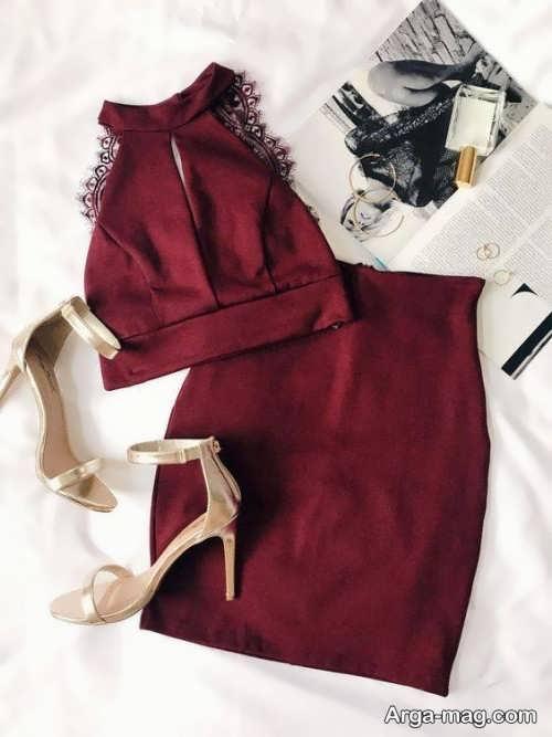 ست لباس دخترانه زرشکی