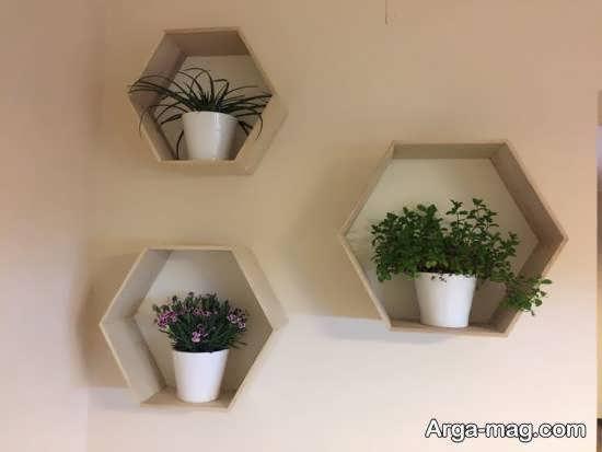الگوهایی از قفسه دیواری برای گلدان