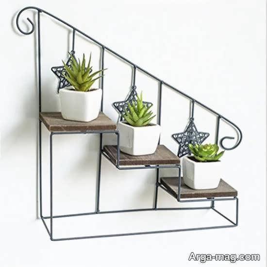انواع ایده های زیبای شلف دیواری برای گلدان