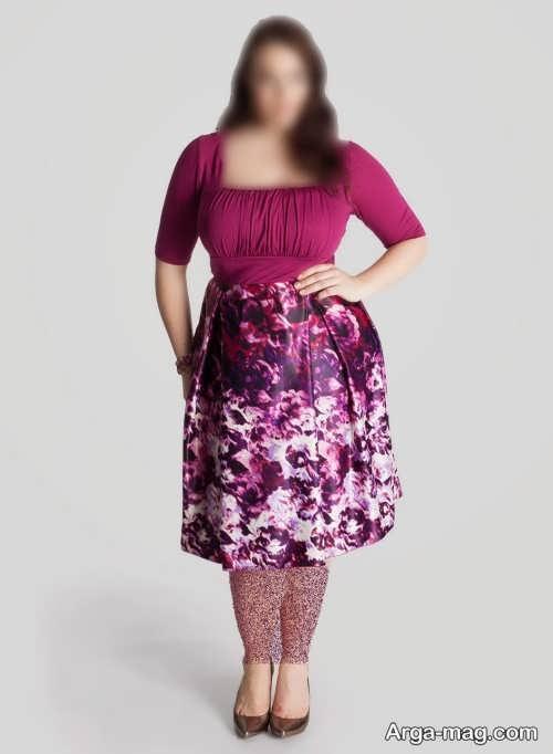 لباس مجلسی پوشیده و طرح دار برای افراد چاق
