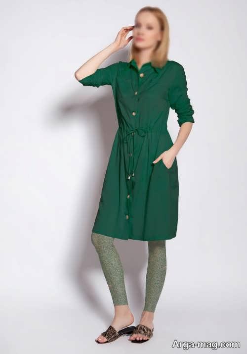 لباس سبز دکمه دار