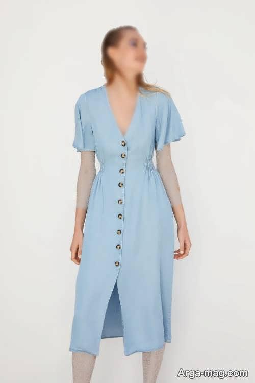 لباس دکمه دار آبی