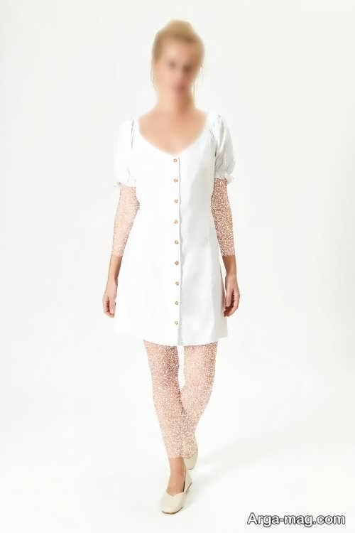 لباس سفید دکمه دار