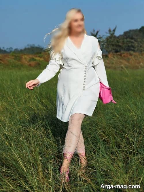 مدل لباس زنانه دکمه دار مجلسی