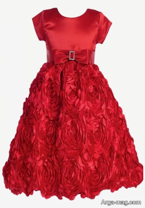 لباس ساتن کودک قرمز