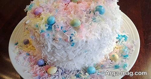 مدل تزیین کیک با پودر نارگیل