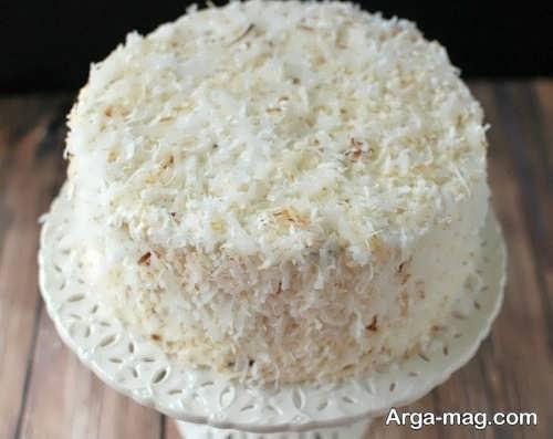 تزیین ساده کیک با پودر نارگیل