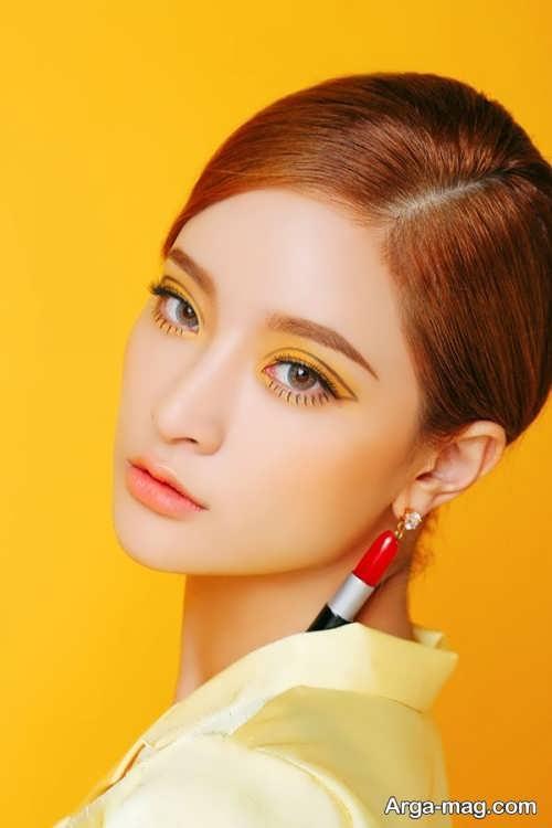 مدل میکاپ ملایم و زیبا برای لباس زرد
