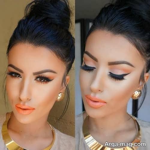 مدل آرایش صورت با رژ نارنجی