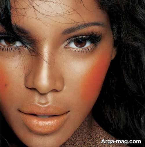 آرایش صورت دخترانه با رژ نارنجی