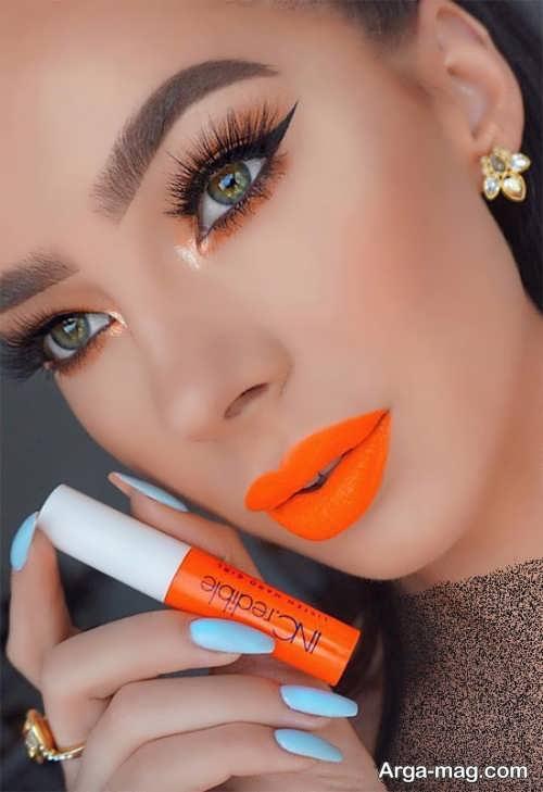مدل های میکاپ با رژلب نارنجی