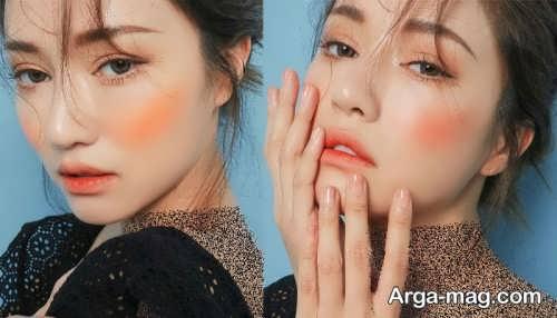 مدل های آرایش صورت با رژ نارنجی