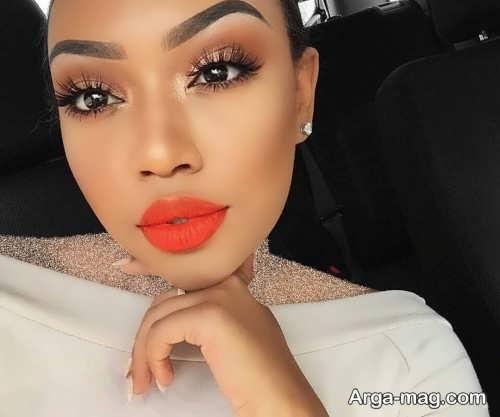 مدل آرایش صورت دخترانه با رژ نارنجی