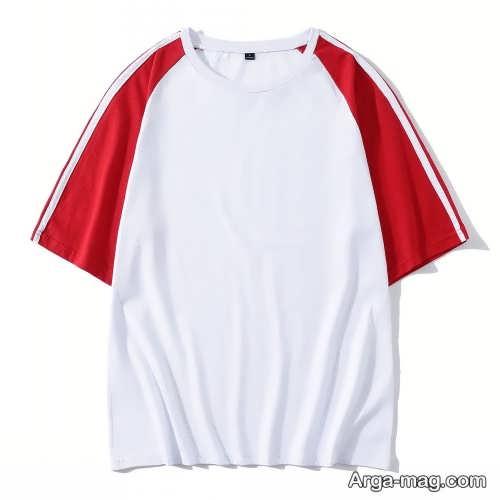 تیشرت سفید و قرمز مردانه