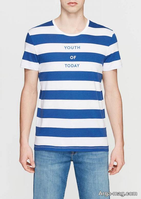 تیشرت مردانه سفید و آبی یقه گرد
