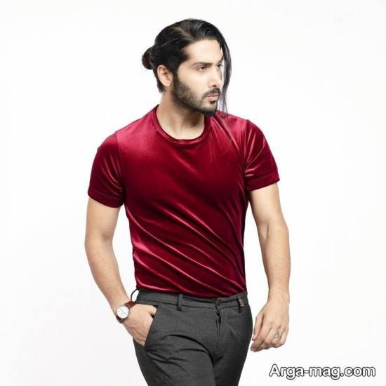 نمونه تیشرت مردانه زرشکی رنگ