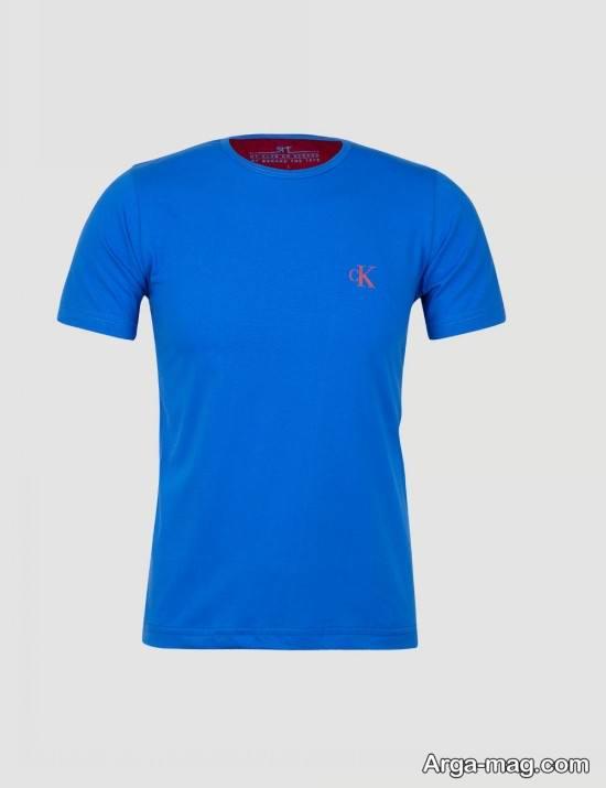 تیشرت مردانه یقه گرد آبی رنگ