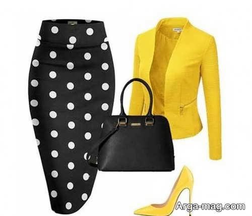 ست لباس زرد و مشکی برای خانم های میانسال