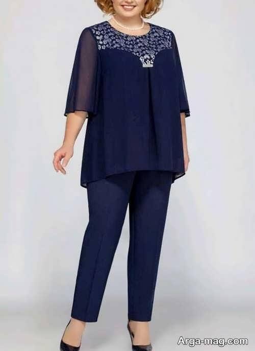 ست لباس سرمه ای برای خانم های میانسال