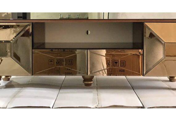 انواع نمونه های زیبای مدل میز تلویزیون آینه ای