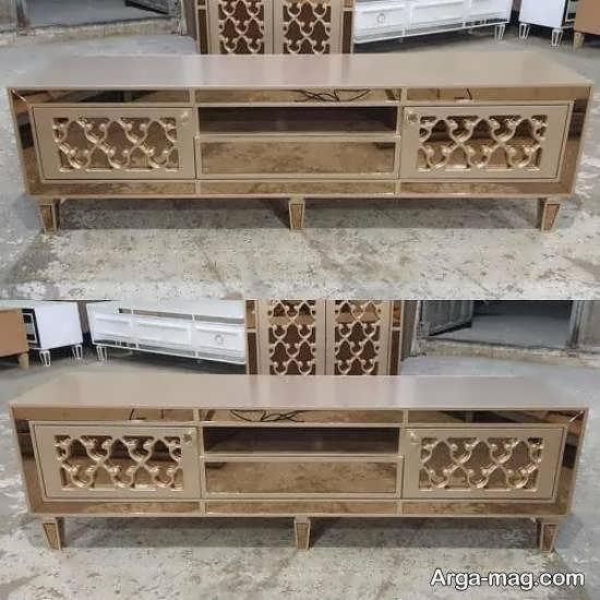 تصاویری شیک از مدل میز تلویزیون آینه ای