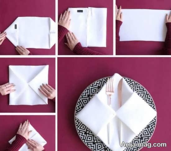 انواع نمونه های ایده آل و شیک از دستمال سفره داخل لیوان