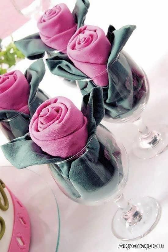 ایده هایی زیبا و خلاقانه از دستمال سفره داخل لیوان