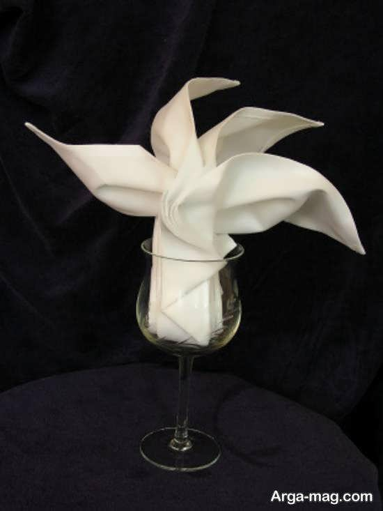 ایده هایی جالب برای تزیین دستمال سفره درون لیوان