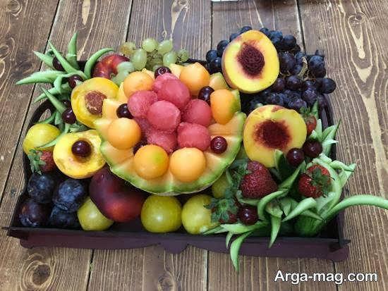 میوه آرایی های شیک با تزیینات هلو