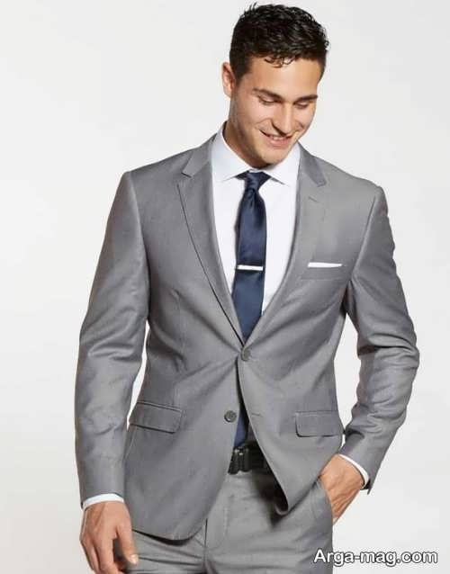 پیراهن و کت خاکستری مردانه