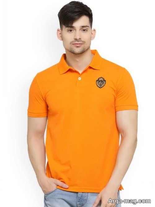 تیشرت یقه هفت مردانه نارنجی