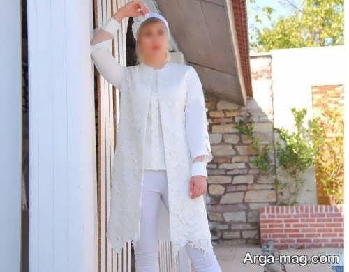 مدل مانتوی سفید و طرح دار